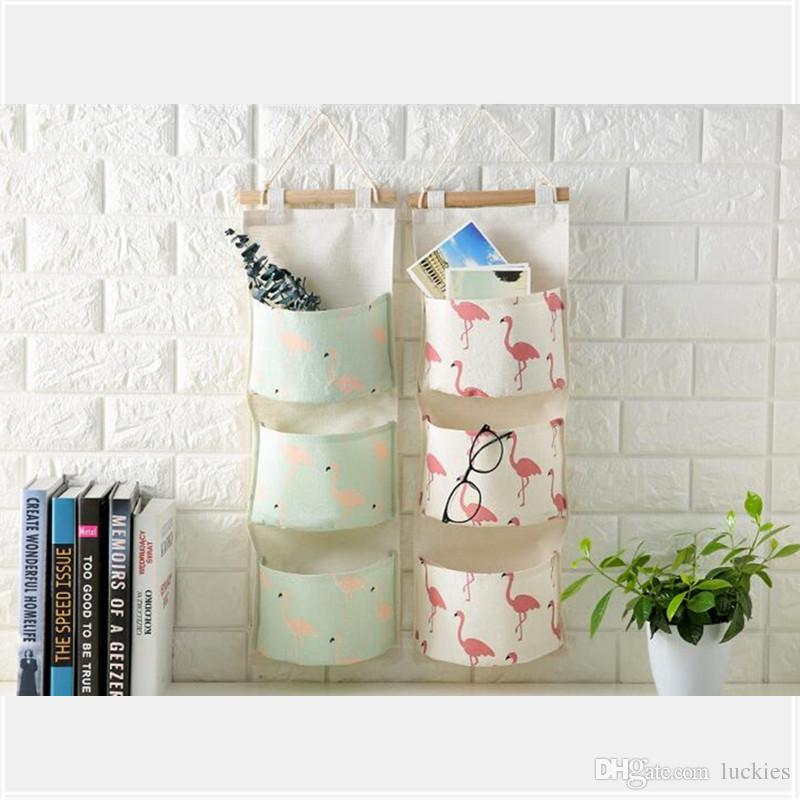2018 Flamingo Printing Cotton Storage Bag 3 Pocket Wall Mounted Wardrobe Hang Bag Wall Pouch Cosmetic Toys Organizer Stationery Container From Luckies ... & 2018 Flamingo Printing Cotton Storage Bag 3 Pocket Wall Mounted ...