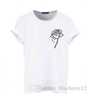 bf423470308d Rose Printed Women T Shirt Summer Cotton Crew Neck Short Sleeves Black White  Gray Basic Wear Top Funny Cool Shirts Be Awesome T Shirt From Blueberry12