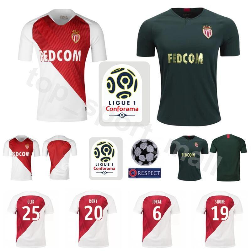 2019 18 19 Season Soccer AS Monaco FC Jersey Men White 14 BALDE 33 SIDIBE  25 GLIK 13 GEUBBELS 20 RONY Football Shirt Kits From Top sport mall fee83c164