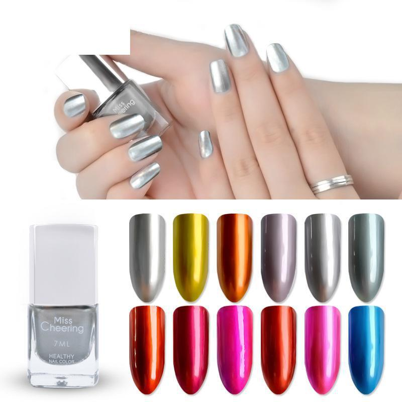 Nail Polish Metallic Lacquer Silver Nail Mirror Effect Metal Gold ...