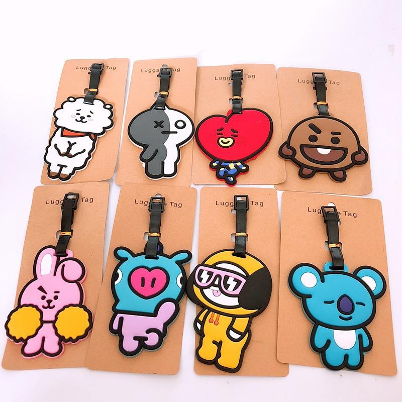BTS abstract cartoon cos PVC Keychain novelty funny cute soft rubber  luggage tag boarding pass bag tags hanging ornaments bags