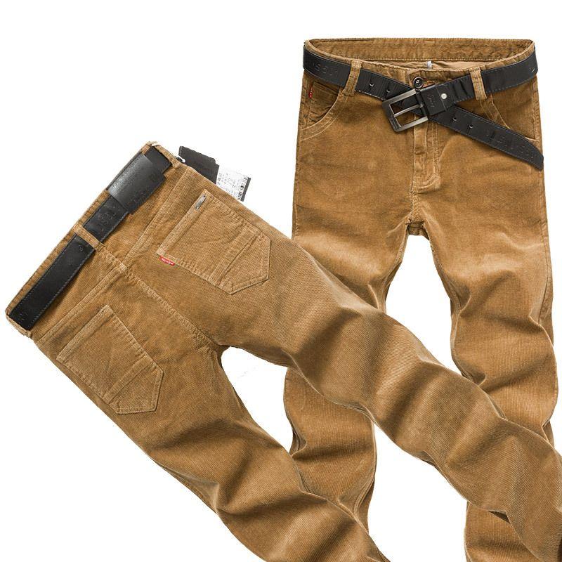 Acquista Pantaloni Di Velluto A Coste Nero Cachi Da Uomo Autunno Inverno  Moda Casual Design Pantaloni Di Cotone Pantaloni Da Uomo Slim Pantaloni  Plus Size ... 6e5ead657e77