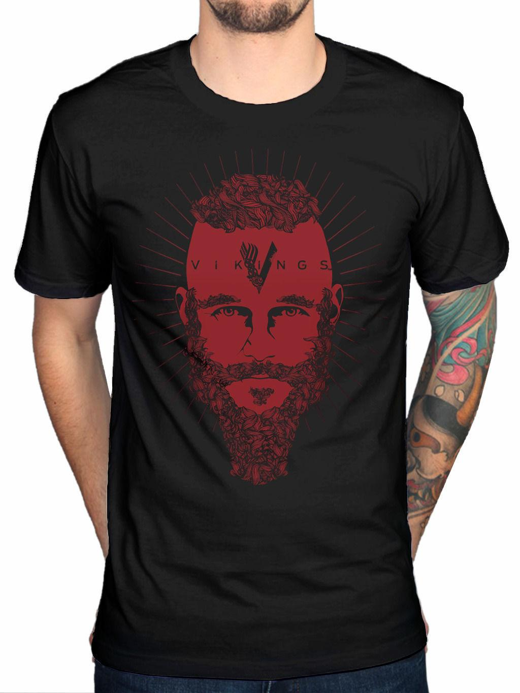 Official Vikings Ragnar Face T-Shirt TV Series History Channel Fan  Merchandise knitted comfortable fabric street style men t-shirt