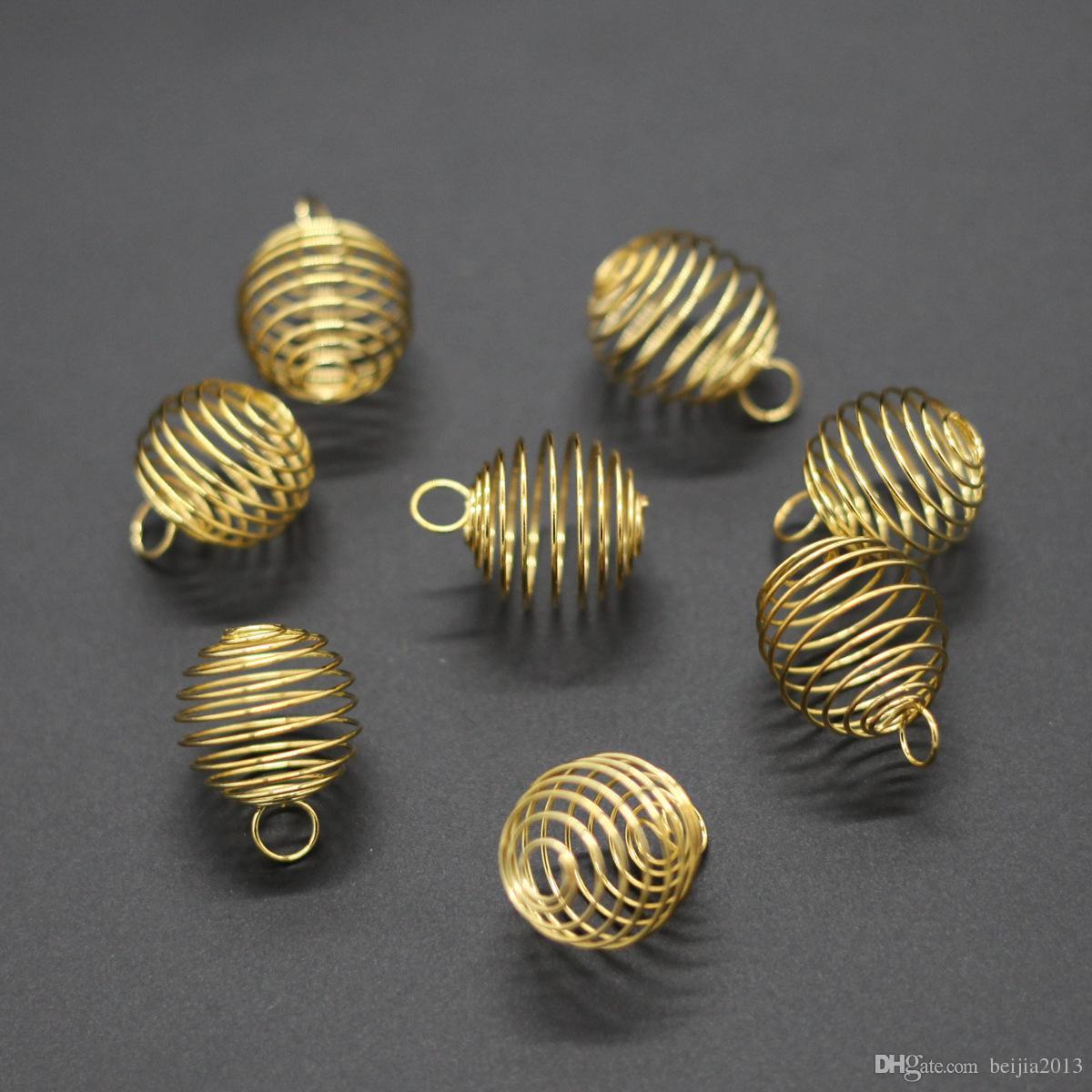 frete grátis / lote prateado espiral Bead Gaiolas Pingentes Descobertas 9x13mm Descobertas jóias New Jóias tomada de DIY