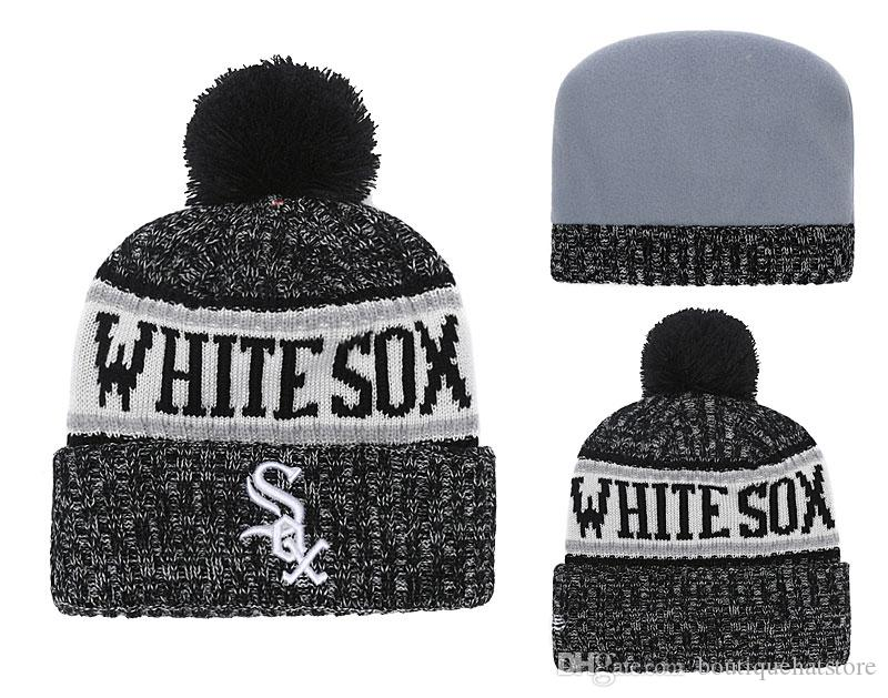 af6fa76f037 New Arrival White Sox Men S Knitted Beanies Good Quality Winter Warm  Baseball Teams Fans Skull Hats Pom Embroidery Cuff Beanie Cap Crochet  Beanie Beanies ...