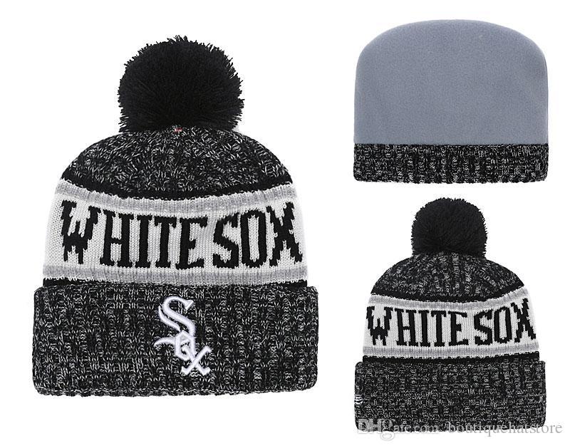 b0c4704cdba New Arrival White Sox Men S Knitted Beanies Good Quality Winter Warm  Baseball Teams Fans Skull Hats Pom Embroidery Cuff Beanie Cap Crochet Beanie  Beanies ...
