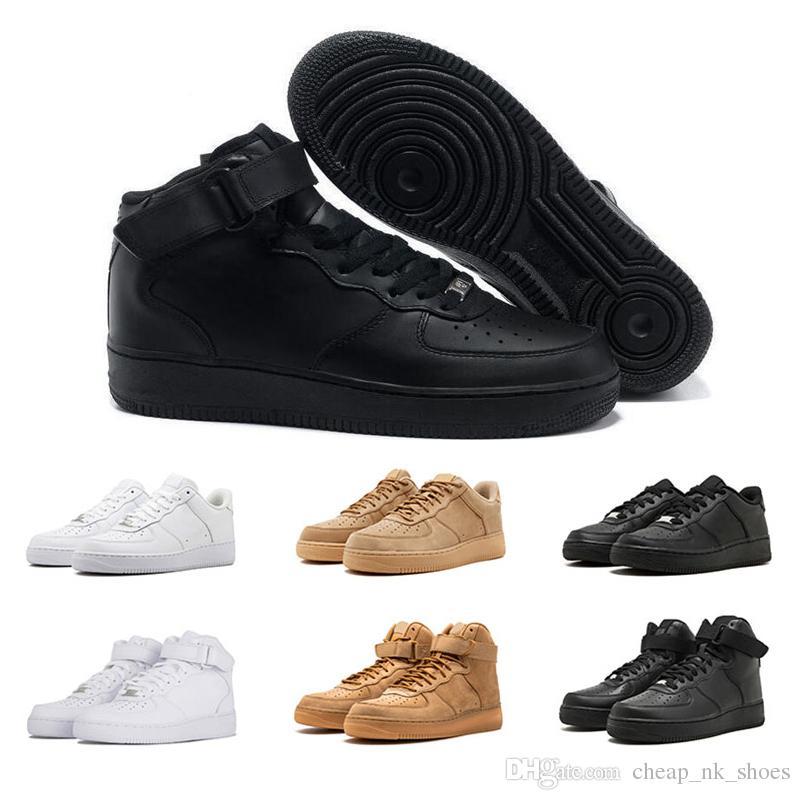 62047e561f Compre Nike Air Force 1 Forças Sapatos 1 Homens Mulheres Tênis De Corrida  Todos Branco Preto Trigo Skate Calçados Esportivos Formadores Causal Ao Ar  Livre ...