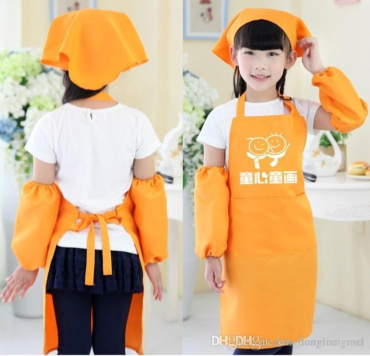 Kids Aprons Pocket Craft Cooking Baking Art Painting Kids Kitchen Dining  Bib Children Aprons Kids Aprons 10 colors Free Shipping wn053