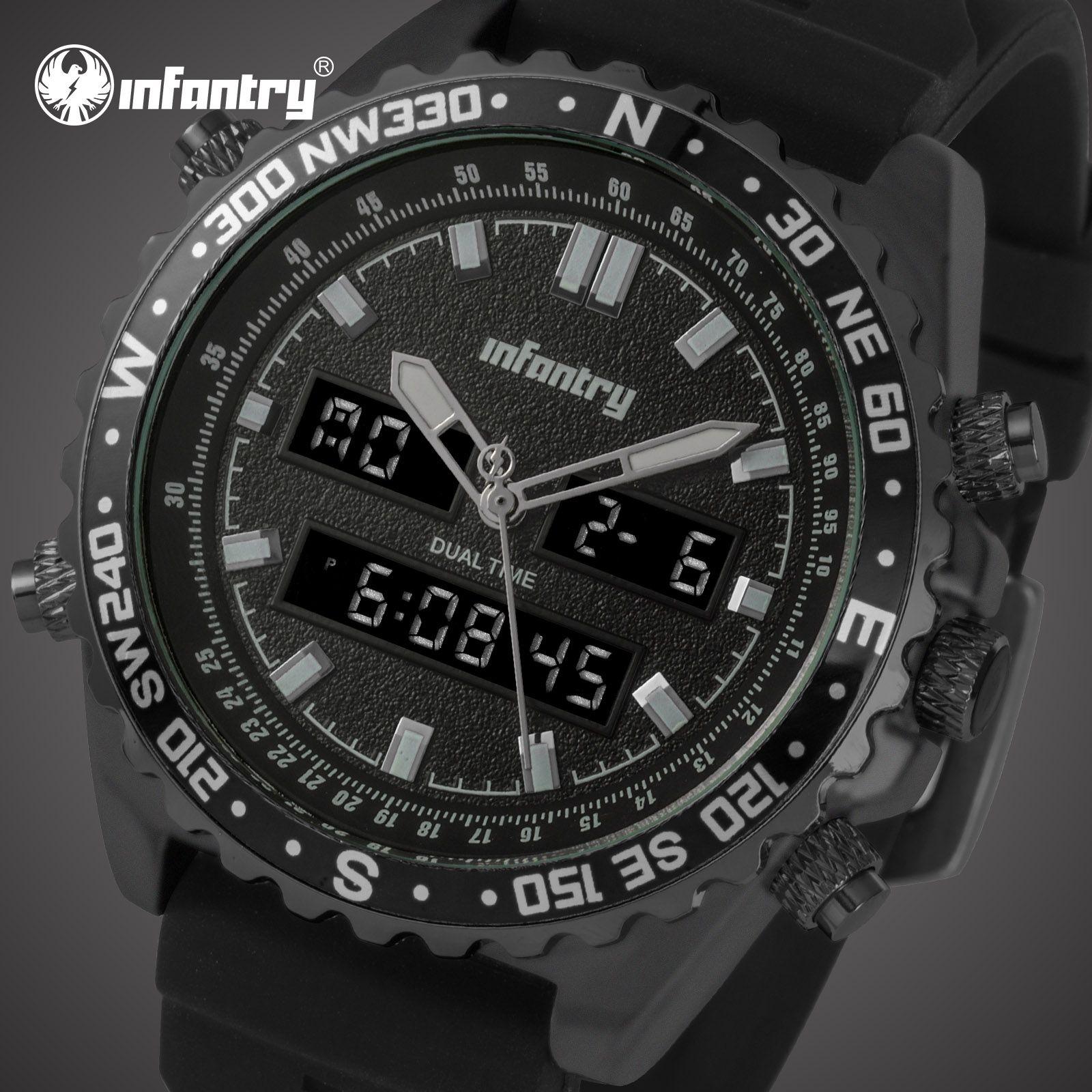 460bfd50b2bb INFANTRY Famous Brand Mens Digital Quartz Wrist Watch Fashion Sport Watches  Military Pilot Army Wristwatch Rubber Strap For Men Montre Homme Wholesale  ...