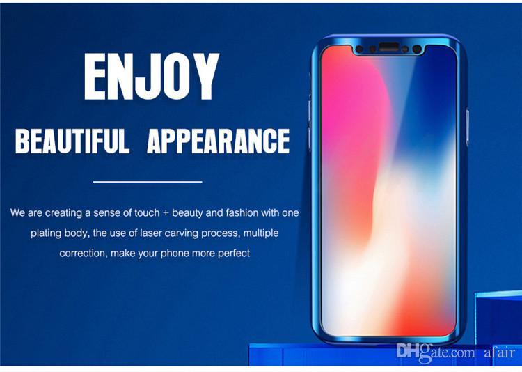 Copertura della cassa del telefono del PC duro dello specchio di placcatura del corpo completo di 360 gradi iPhone X 8 7 6 6S più con la protezione dello schermo di vetro temperata