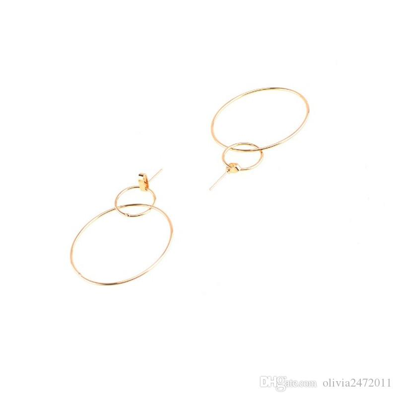 New European Big Hoops Orecchini Double Circle donne Ragazze Orecchini Charming Gold Hoop in argento XR