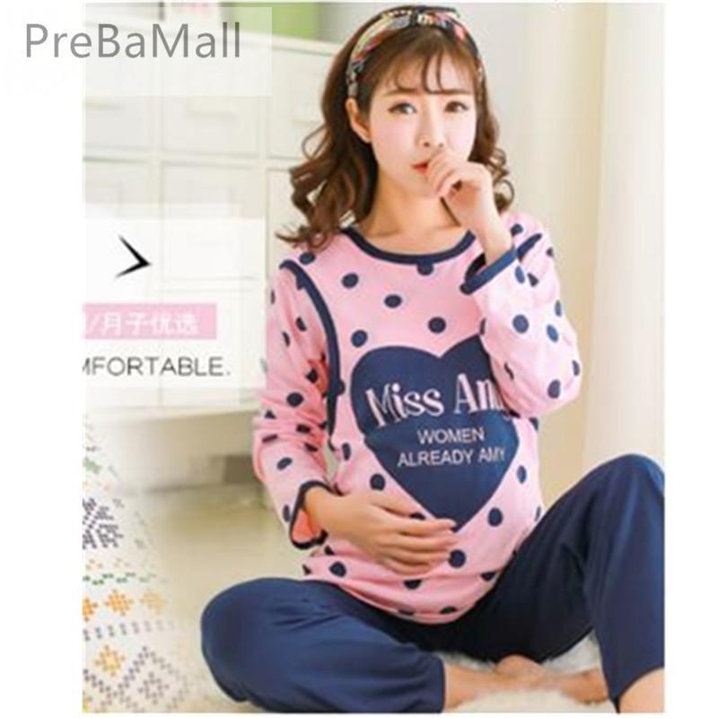 fa226d28b Compre Pijama De Lactancia 2018 Otoño Invierno Pijamas De Manga Larga Para  Mujeres Embarazadas Algodón Camisones Maternales Ropa B0454 A  24.61 Del  Bdshop ...