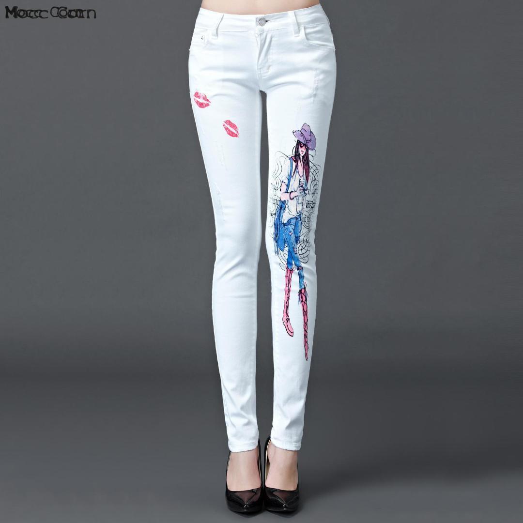 aac85240a65 Compre Mocc Maiz Algodón Pintado Pantalones Vaqueros Blancos Mujer Coreana  Estampado Estiramiento Skinny Jeans Mujeres Pantalones De Mezclilla Lápiz  Jean ...