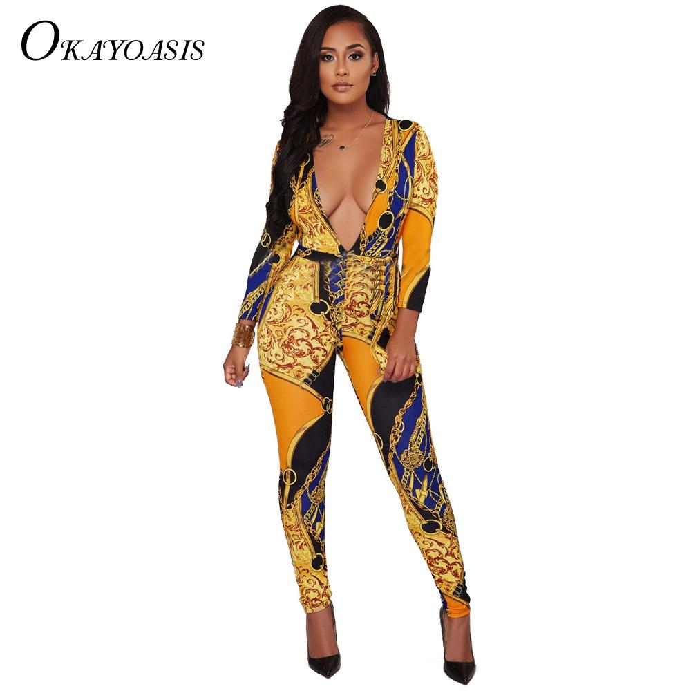 1a62229bbfef 2019 OKAYSexy Jumpsuits 2018 New Autumn Plus Size XXXL Skinny Deep V Full  Bodysuit Overalls Chain Print Rompers Womens Jumpsuit From Alfreld
