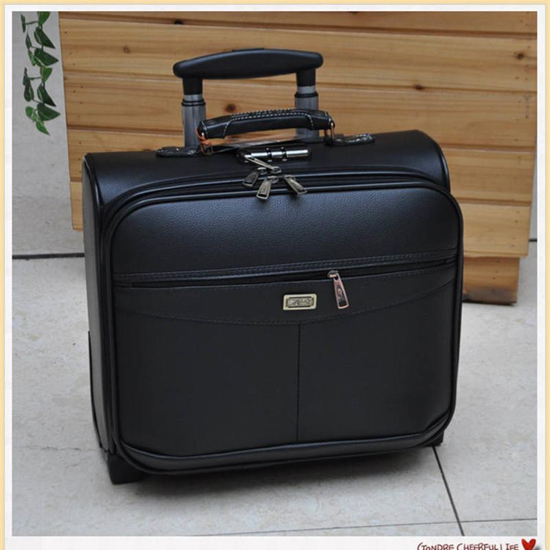 16 Inch Multifunction Rolling Luggage PU Leather Suitcase Wheels Men Women  Carry On Trolley Pilot Travel Bags Laptop Bag Kids Rolling Suitcases  Waterproof ... bfd8c67dac8b3