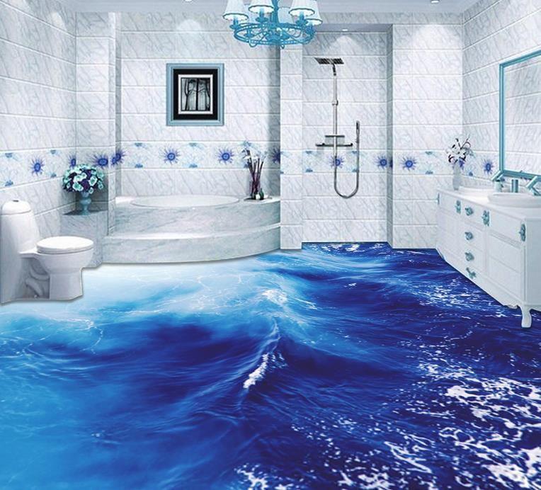 Großhandel Meer Wellen Badezimmer Wohnzimmer Boden Pvc Bodenbelag ...
