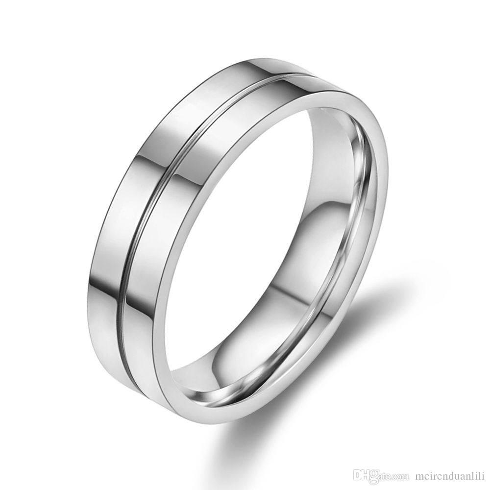 Casal de noivado Anéis para As Mulheres Homens Amante Anel de Aço Inoxidável 316L Banda de Prata / Cor de Ouro Anéis De Cristal Zircon Channel Setting Jóias