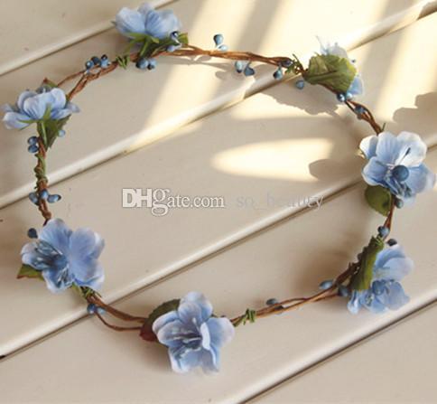 Wedding Bridal Girls Wreath Flower Floral Crown for Women Kids Head Small Cherry Tiara Garland Hair Band Headdress