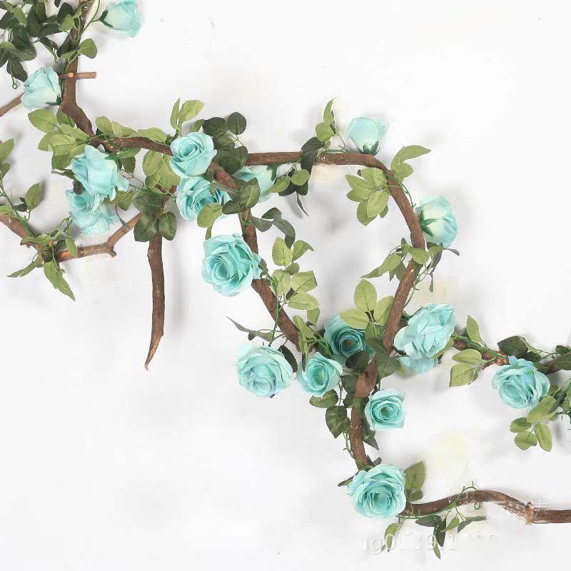 220cm artificielle Rose Fleur de vigne de mariage décoratifs Real Touch Fleurs en soie avec des feuilles vertes pour la maison Hanging Garland Décor