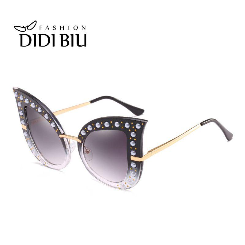 ad2cfd0bd1e0 DIDI Oversized Pearl Sunglasses Women Brand Fashion Cat Eye Plastic Metal  Frame Transparent Glasses Ladies Gradient Oculos WN939 Rimless Sunglasses  Cay Eye ...