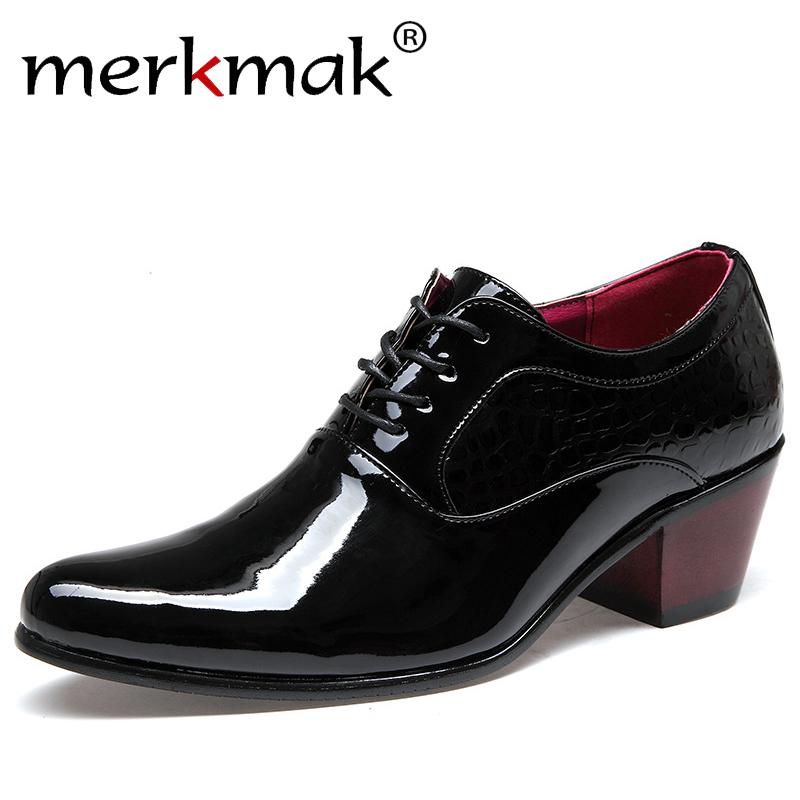 a2d03cf96096 Merkmak Luxury Men Dress Wedding Shoes Patent Glossy Leather 6cm High Heels  Fashion Pointed Toe Heighten Oxford Shoes Party Prom Stacy Adams Shoes  Purple ...