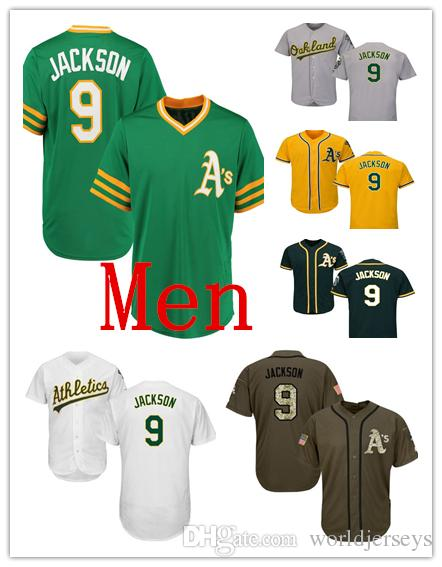free shipping f5f65 e06d8 Mens Athletics 9 Reggie Jackson Baseball Jerseys Green White Grey Gray  Green Salute Players Weekend