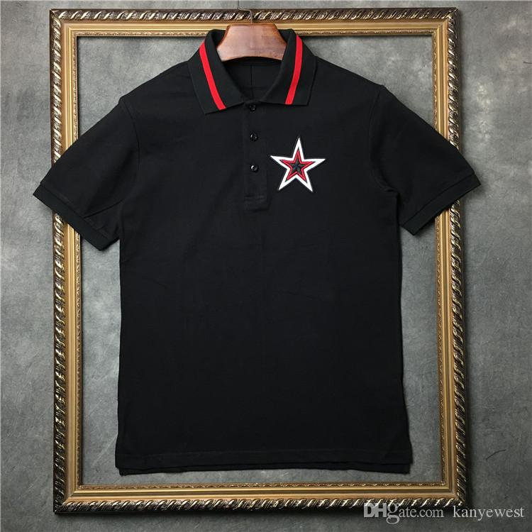 2019 hot Europe Summer camiseta para hombre Pentagram bordado polos de calidad superior Hombres Mujeres Diseñador camiseta Algodón Tee Tops