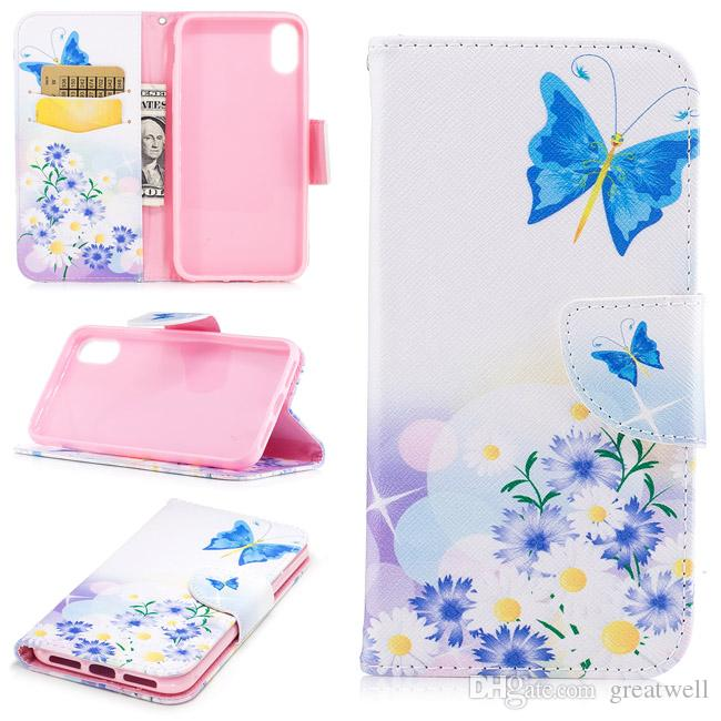 Butterfly Giraffe Flower Wallet Flip PU Leather Wallet Case For iPhone 11 Pro Max XR XS 8 7 6S Plus S8 S9 S10 S20 Ultra Note 10