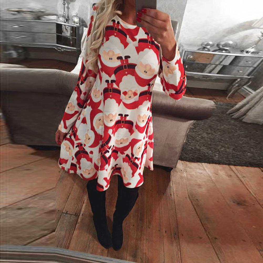 women christmas print dress elk snowflake long sleeve casual autumn winter a line party dress clubwear rave dresses vestido dresses cheap dresses women