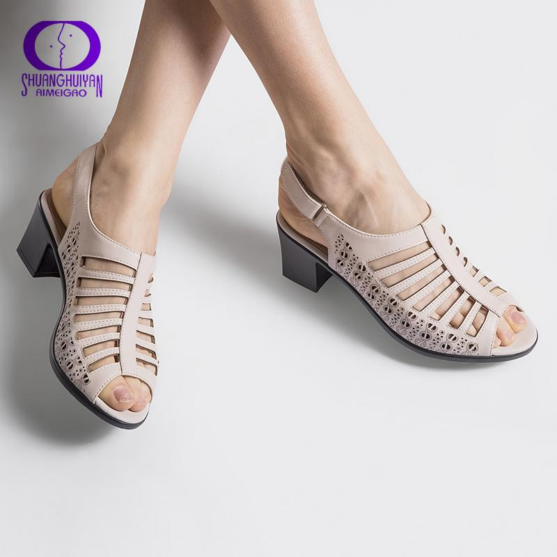 2018 Buckle Strap Women Gladiator Sandals Peep Toe Summer Shoes Thick Heels Women Sandals Soft Leather Big Size Shoes