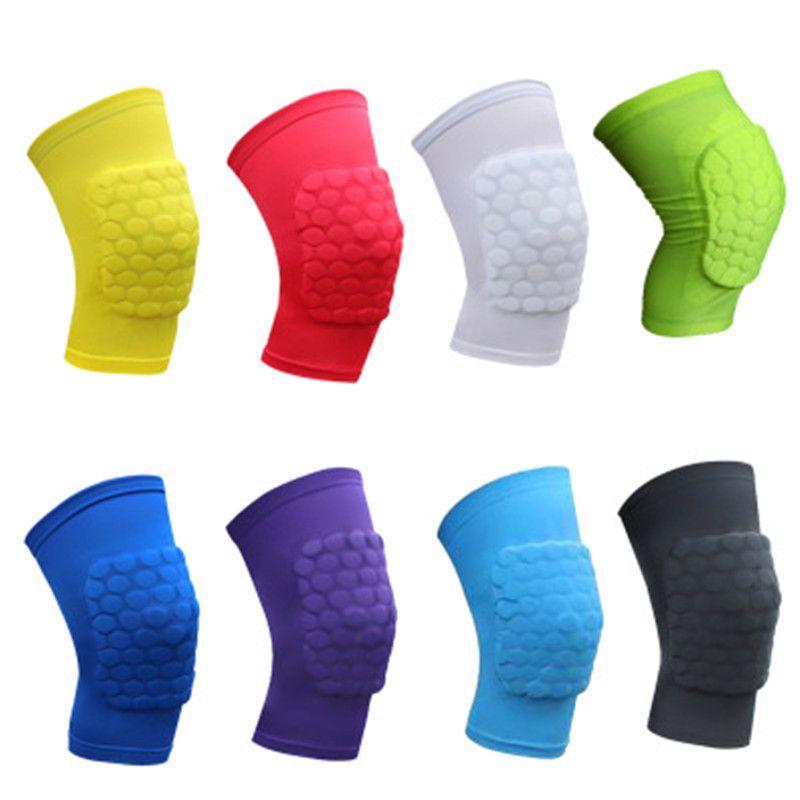 2019 Cojines de rodilla de baloncesto de seguridad para niños Almohadilla de nido de abeja Pierna Apoyo de rodilla Rodilla de fútbol Ciclismo Niños al aire libre protector de rodilla