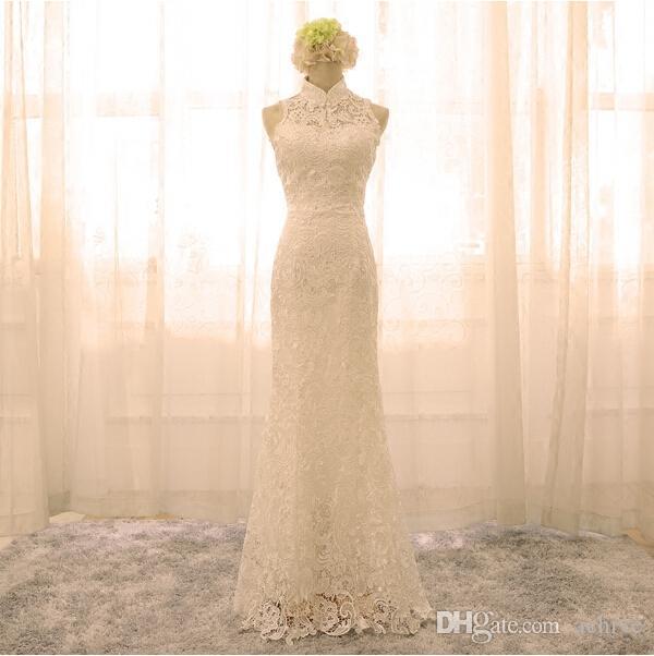 새로운 섹시한 높은 목 레이스 Cheongsam 인어 아이보리 이브닝 가운 여성을위한 긴 중국어 Cheongsams 파티 드레스 vestidos de novia