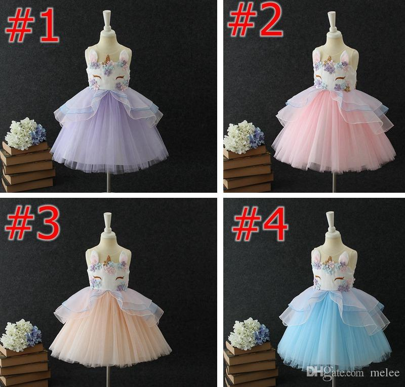 Unicorn Ins Kids Summer Party Dresses Girls Dresses Floral Girls Princess Klänningar Söt Födelsedag Kids Party Dress Wedding Dress Pettiskirt
