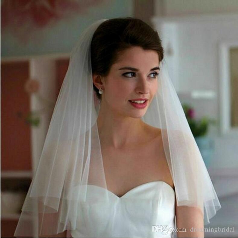 Простая дешевая белая слоновая кость Bridal вуаль короткие свадебные вуалии длина локтя свадьба с расчесами бесплатная доставка