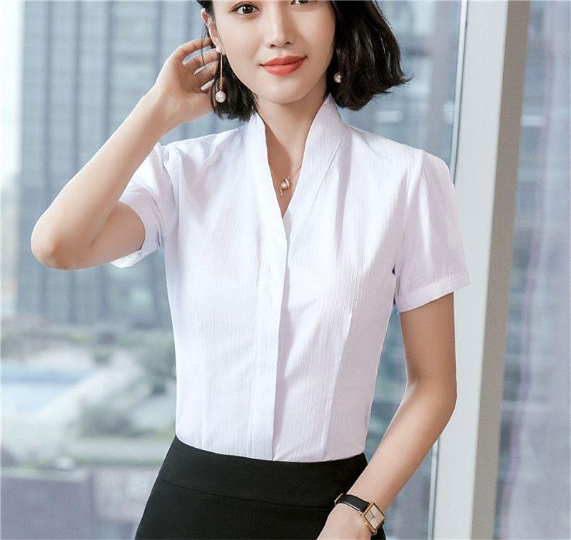 Grosshandel Sommer Frauen Blusen Shirts Kurzarm Damen Arbeitskleidung