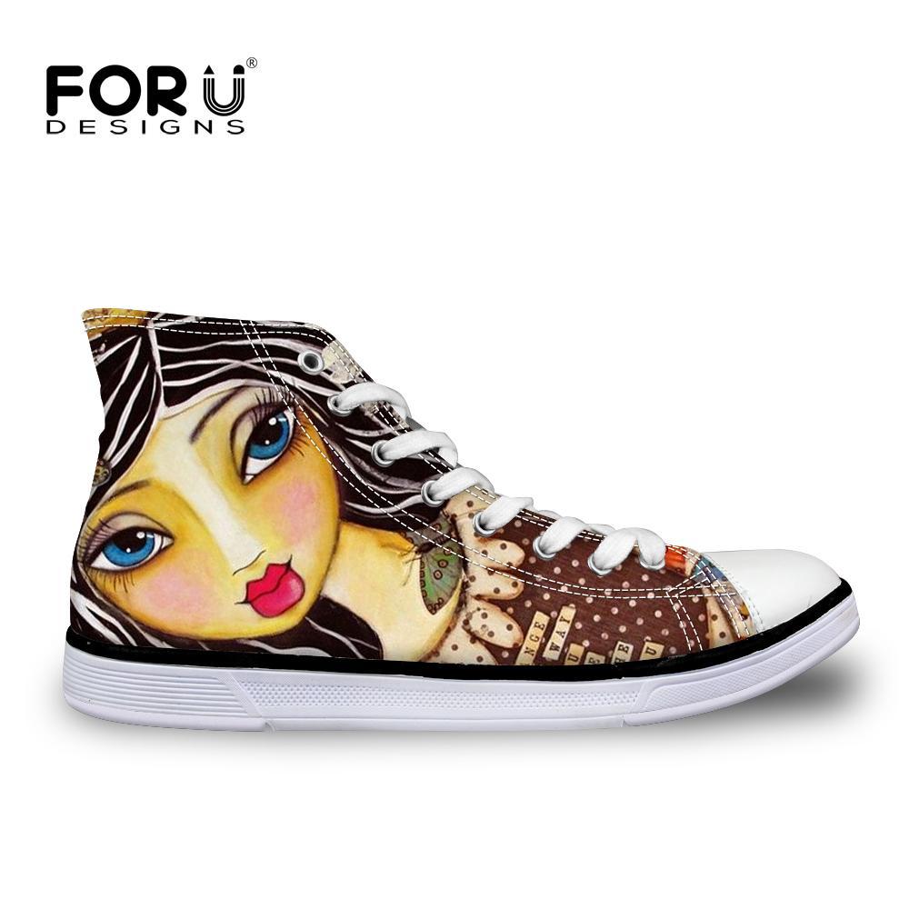 851b6e14 Compre Forudesigns Mujeres De La Moda High Top Vulcanized Shoes Mujer  Zapatos De Lona Cute Cartoon Ilustración Chica Cordón Plano Zapato Para Dama  A $45.48 ...