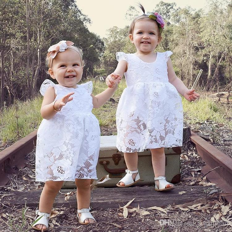 0d696095d41c 2019 Everweekend Ins Baby Girls Summer Ruffles White Lace Rompers Cute  Children Fly Sleeve Infant Baby Kids Clothing From Smartmart