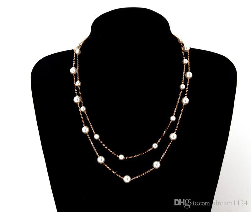 New Simple Double Layers Chain Imitation Pearl Pendant Necklace