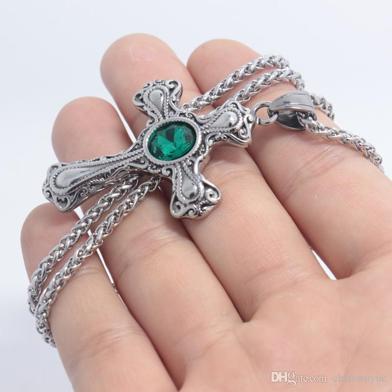 2018 Punk Men Necklace Green/red/blue Crystal Bead Cross Pendant Collar Male Stainless Steel Choke Men Jewelry Link Chain