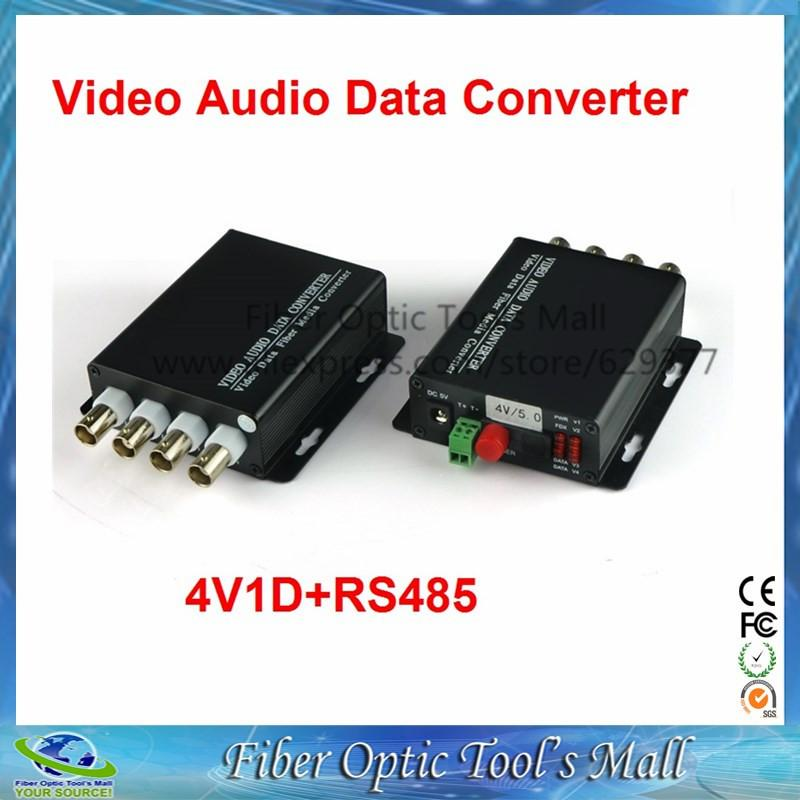 1 pair 2 pieces lot 4 channel video optical converter fiber optic video optical transmitter \u0026 receiver 4ch rs485 data  fiber optical measuring channel 1