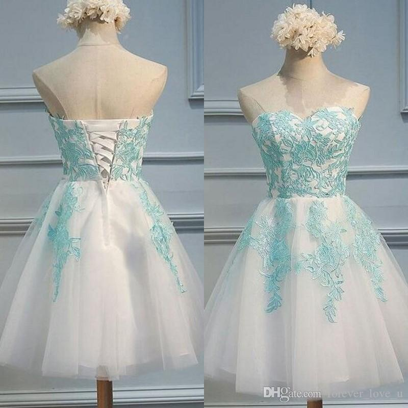 Cheap High Quality Homecoming Dresses Two Tone White And Light Blue Lace  Appliques Tulle Short Formal Wear Prom Party Gowns 2019 Sequin Dress Short  Dresses ... ccbc20a7e