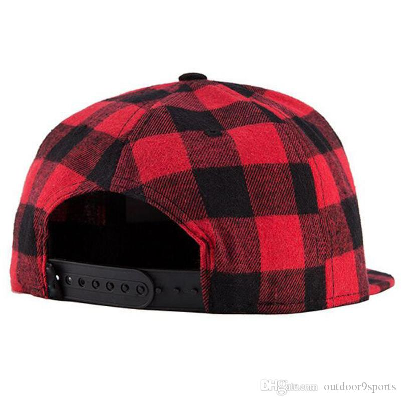 New Women Men Straight Brim Fashion Gingham Hip Hop Street Rock Caps Plaid Baseball Hat Outdoor Sports Caps Snapbacks Dome Hats