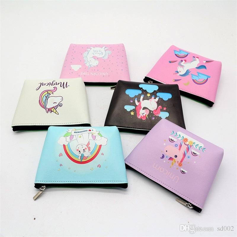 Cute Cartoon Unicorn Wallet Woman Zipper Zero Purse Card Bags Pocket Money Storage Tools Waterproof Practical New Pattern 2 3wc X