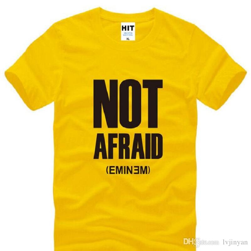 NOT AFRAID Eminem Printed T Shirts Men Summer Short Sleeve O-Neck Cotton Men's T Shirt New Eminem Hip Hop DJ Rap Mens Top Tees