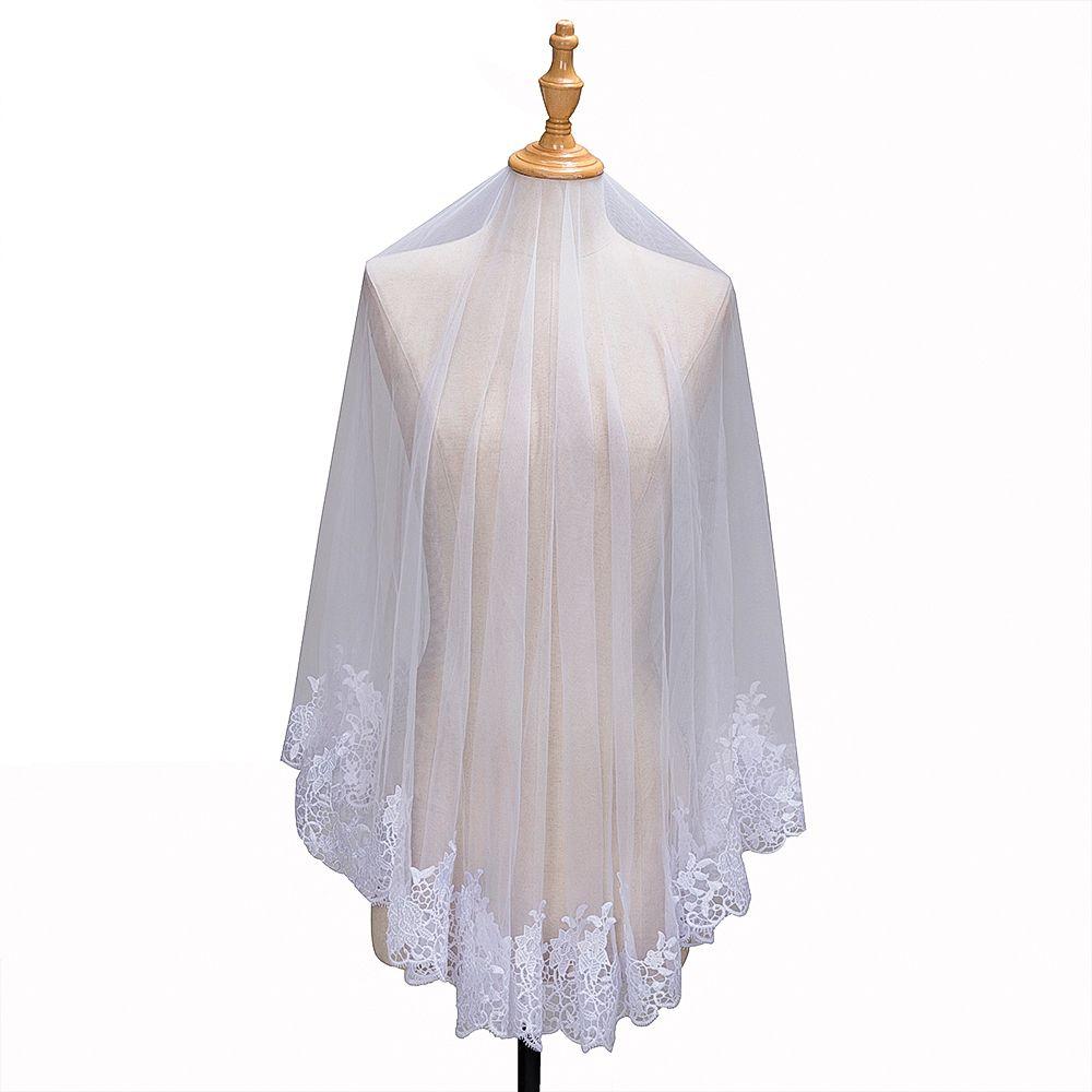 0dbb6cab 2018 High Quality Cheap Short Wedding Veils White/Ivory One Layer 1.5M Full  Lace Edge Tulle Bridal Veils Wedding Accessories CPA1384 Mantilla Bridal  Veils ...