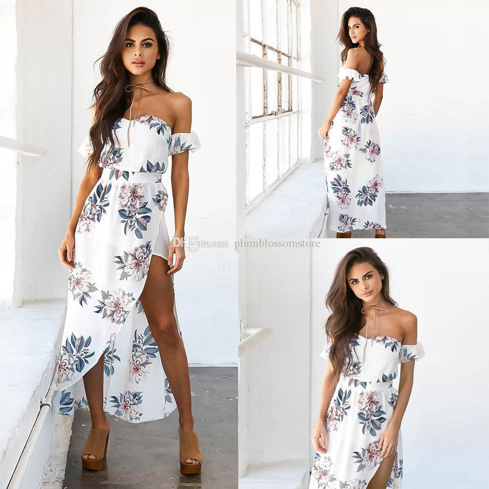 479927068f Summer Women bohemian beach Dress Boho Sexy Off Shoulder Floral Print Long  Maxi Party Beach Sundress Long Maxi Dress vestidos femininos new