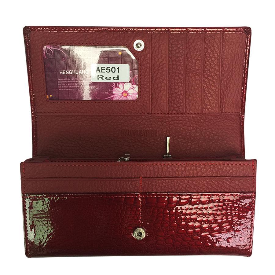 Genuine leather Cowhide Women's Wallets Patent Leather Long Ladies Double zipper Wallet Clutch bag Design Purse Crocodile Purses