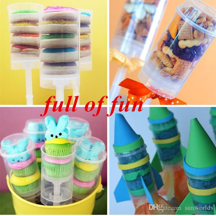 Heart/Round Shape Food Grade Push Up Cake Pop Containers Ice Cream Cupcake For Party Decorations DIY Plastic Mold Free Stickers