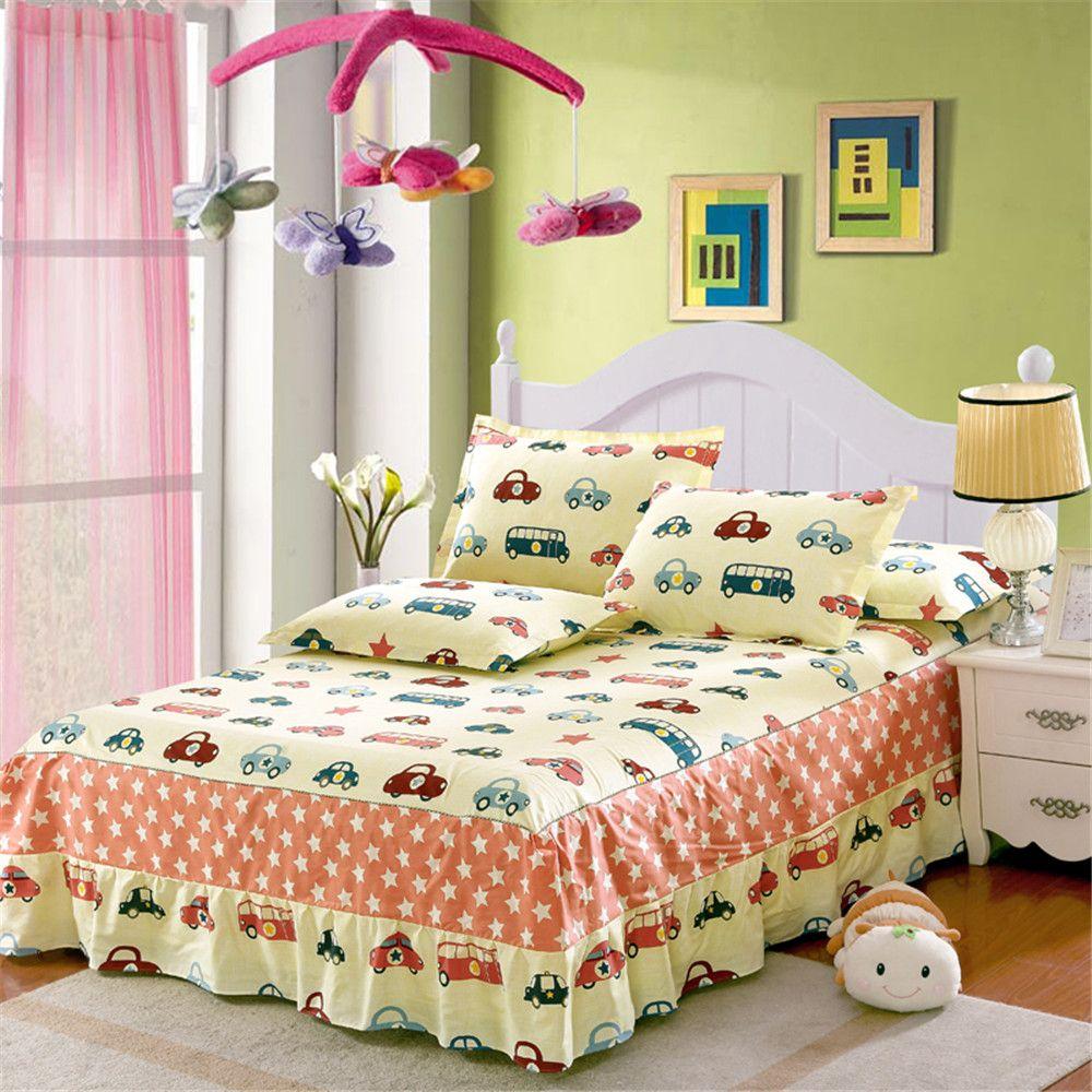 Cartoon Animal Yellow Printing Bedspread 100 Cotton Color Car Bed