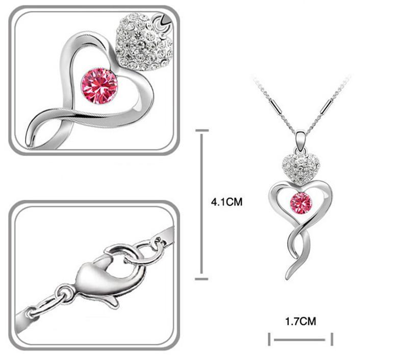 Colar de Pingente de Cristal das Mulheres Brinco Conjuntos de Jóias Frete Grátis 4-Cores 2145 + 2107